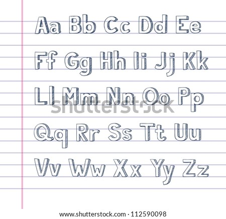 Hand drawn alphabet on lined paper - stock vector