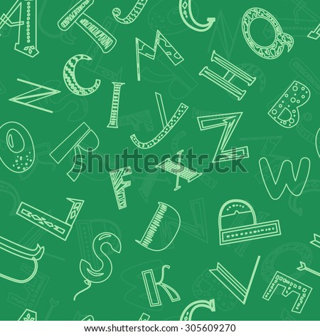 Hand drawn alphabet seamless pattern. Letters on chalkboard. - stock vector
