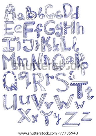hand drawn alphabet,vector illustration - stock vector
