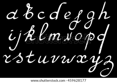 Hand drawn alphabet. Vector illustration. Brush painted letters.