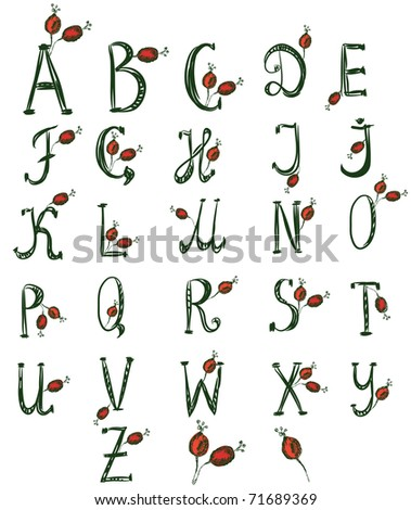 Hand drawn alphabet with rose berries - stock vector