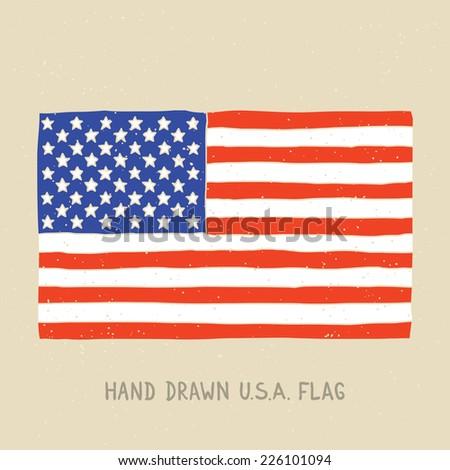 Hand drawn american flag vector illustration - stock vector