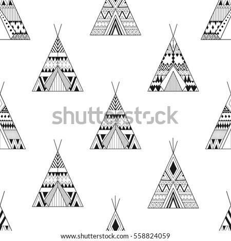 Hand Drawn American Native Wigwams Seamless Stock Vector 558824059