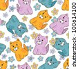 Hand drawn amusing little kitten vector seamless pattern. Made in  light pastel tones - stock photo