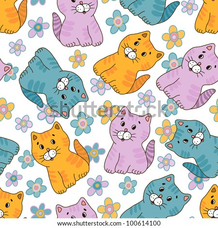 Hand drawn amusing little kitten vector seamless pattern. Made in  light pastel tones