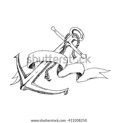 Hand Drawn Anchor with ribbon. Coloring illustration. Vector stock illustration