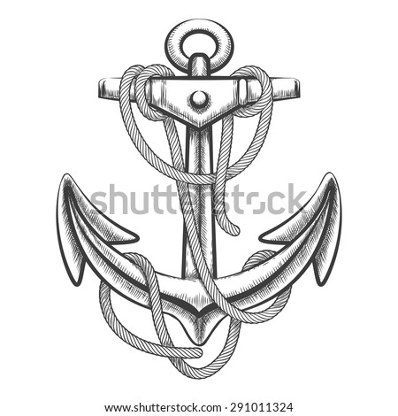 Hand drawn anchor with rope. Engraving style. Isolated on white background.  - stock vector