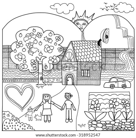 Landscape Drawing City Coloring Pages