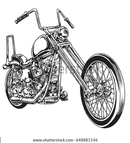 Hand Drawn Inked Vintage American Chopper Stock Vector