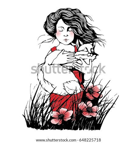 Hand drawn and painted watercolor outline vector illustration of cute little boy with fox in his hands. Grass and red flowers. The little prince theme.