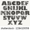 Hand drawn and sketched bold font, vector sketch style alphabet. - stock photo