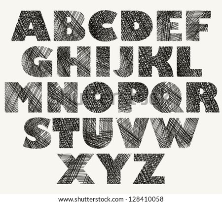 Hand drawn and sketched bold font, vector sketch style alphabet. - stock vector