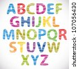 Hand drawn and sketched font, doodle style. - stock vector