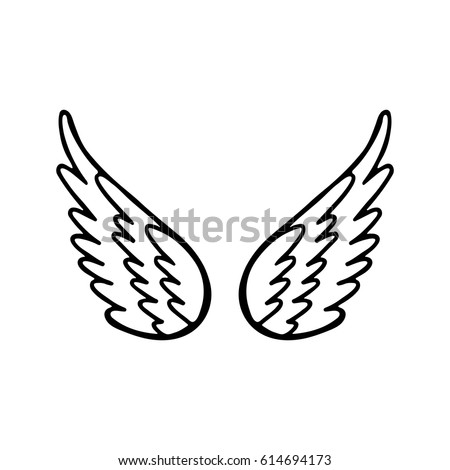 Hand Drawn Angel Or Bird Wing Monochrome Drawing Element Isolated On White Background Vector