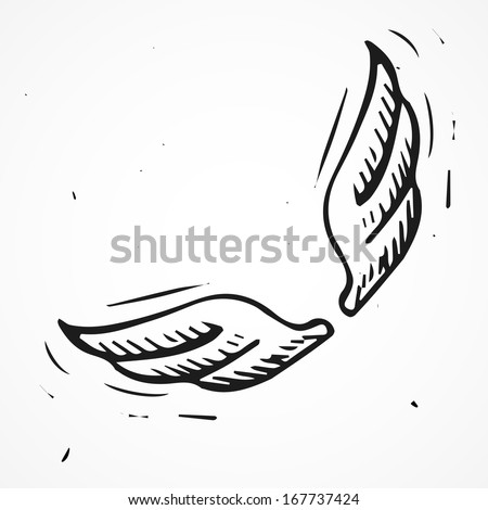 Hand drawn angel wings - stock vector