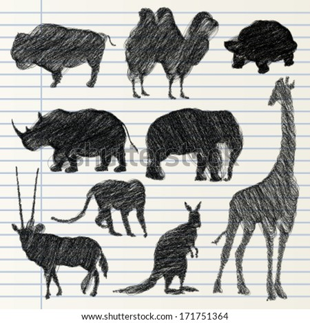 Hand drawn animal collection - stock vector