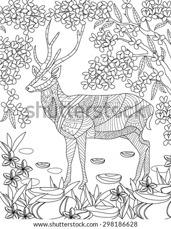 hand drawn animal coloring page - stock vector