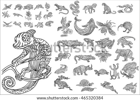Hand drawn animals set, with ethnic floral doodle pattern. Coloring page - zendala, design for spiritual relaxation for adults, vector illustration, isolated on a white background. Zen doodles.