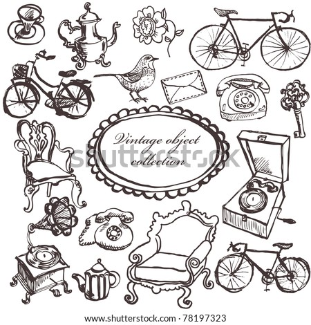 Hand drawn antiquarian object collection for interior - stock vector
