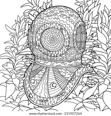 Hand drawn antique divers helmet and algae. Coloring pages for adult in zenart style. Antistress coloring page with marine element. Vector illustration - stock vector