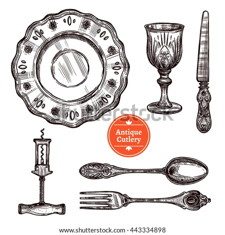 Hand drawn antique silver cutlery set with vintage spoon fork plate glass and knife isolated vector illustration - stock vector