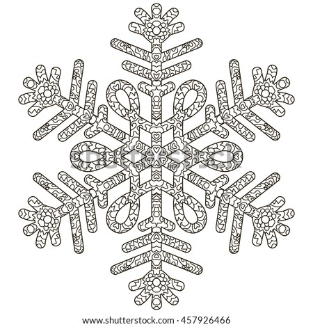 Hand Drawn Antistress Snowflake Template For Cover Poster T Shirt Or Tattoo