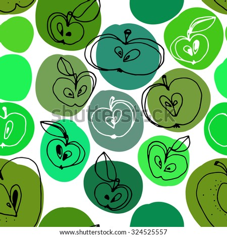 Hand drawn apples seamless pattern