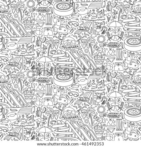 hand drawn aquapark seamless pattern water entertainment objects and elements doodle coloring page