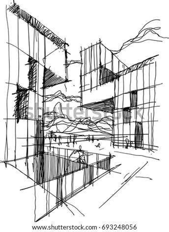 modern architecture sketch.