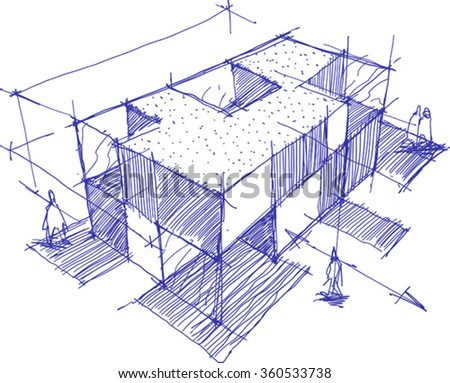 hand drawn architectural sketch of a modern building with people around - stock vector