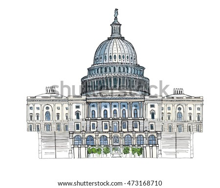 Hand drawn architecture sketch illustration of Capitol Washington DC USA landmark colored vector