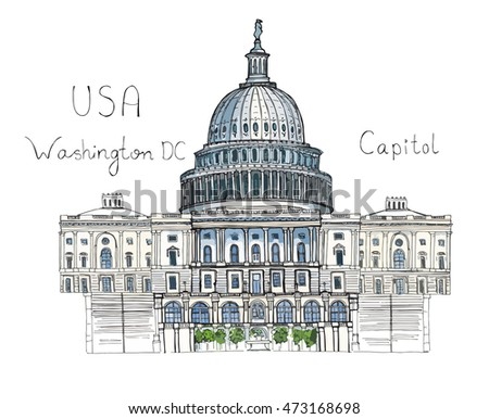 Hand drawn architecture sketch illustration of Capitol Washington DC USA landmark with lettering isolated colored vector