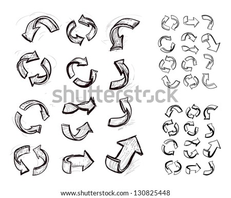 Hand-drawn arrow doodles on white background - stock vector