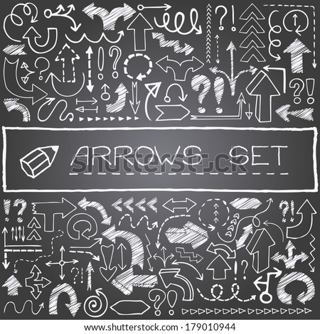 Hand drawn arrow icons set with question and exclamation marks with chalk board effect. Vector Illustration. - stock vector