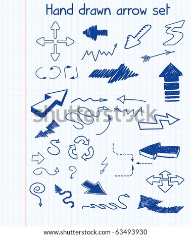 Hand drawn arrow set - stock vector