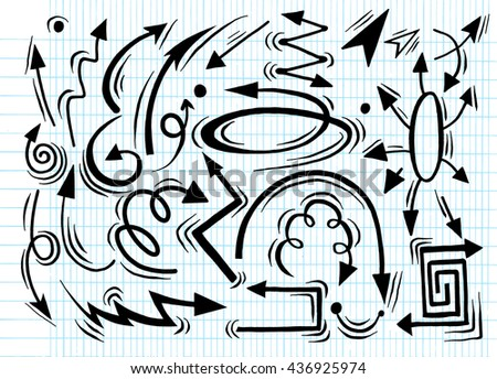Hand drawn arrow set, collection of direction pencil drawn sketch arrows, vector illustration graphic element design - stock vector