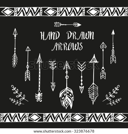 Hand drawn arrows and boho design elements set. Vector illustration.