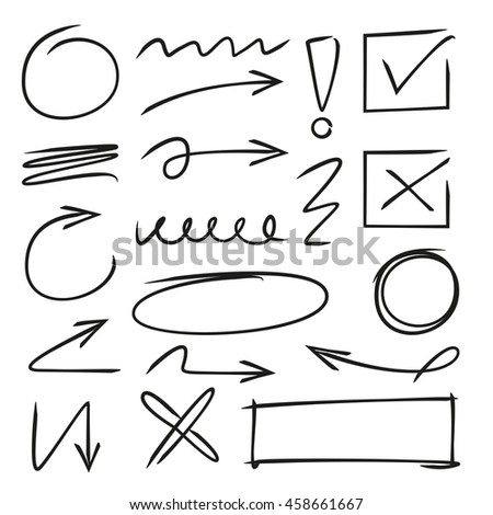 hand drawn arrows, check marks, markers