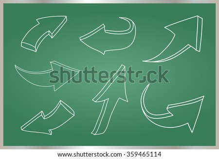 Hand drawn arrows.3D arrows set.Vector illustration.