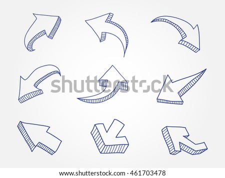 Hand drawn arrows. Doodle arrows set.Vector illustration.