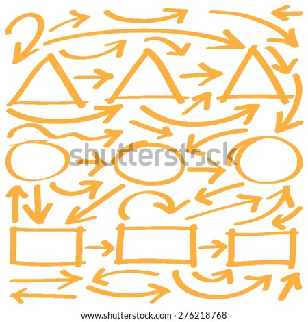 Hand drawn arrows in yellow. Stylish elements for design. Vector illustration. - stock vector