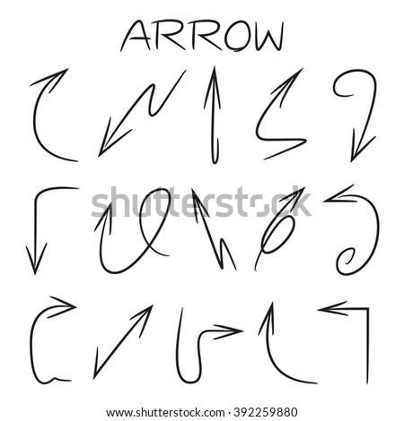 hand drawn arrows, isolated vector arrow signs - stock vector