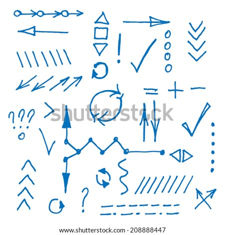 Hand drawn arrows made in vector. Sketch stroke line elements. Editable business design shapes.