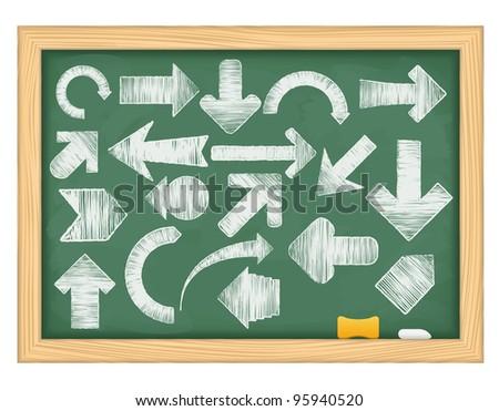Hand drawn arrows on green blackboard. vector eps10 illustration - stock vector