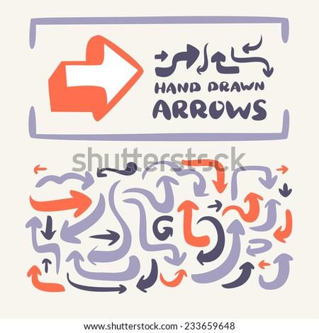 Hand drawn arrows set.  - stock vector