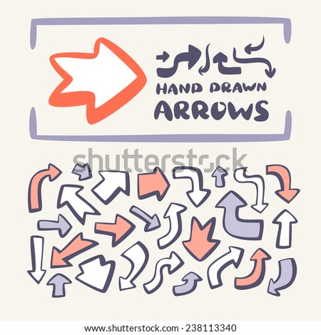 Hand drawn arrows set. - stock vector