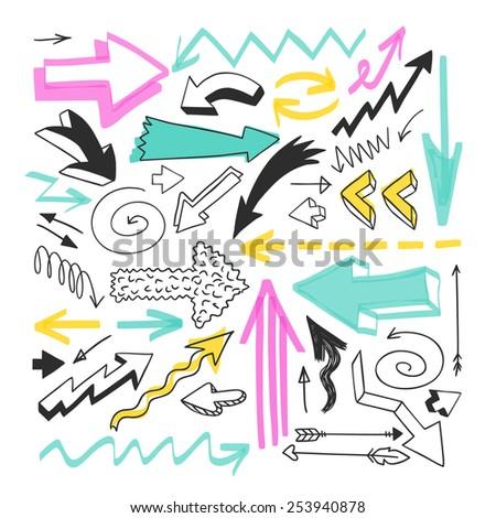 Hand drawn arrows set for presentation. Vector. - stock vector