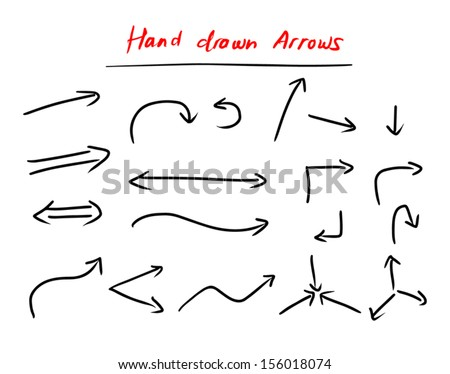 Hand drawn arrows set isolated on white background. - stock vector