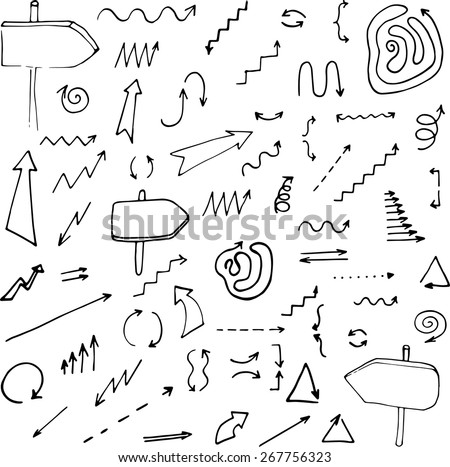 hand drawn arrows set, vector