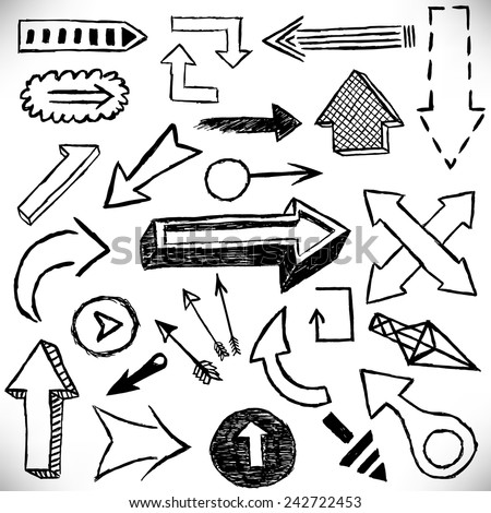 Hand drawn arrows set. Vector signs of direction. Design elements group of business infographics, diagrams, plans, sketches drawn by hand.
